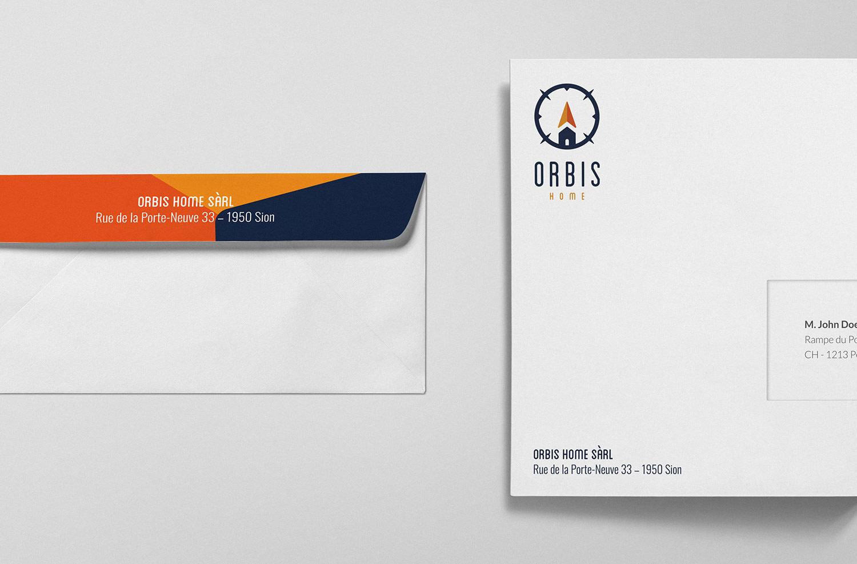 Design des enveloppes pour l'agence immobilière Orbis Home