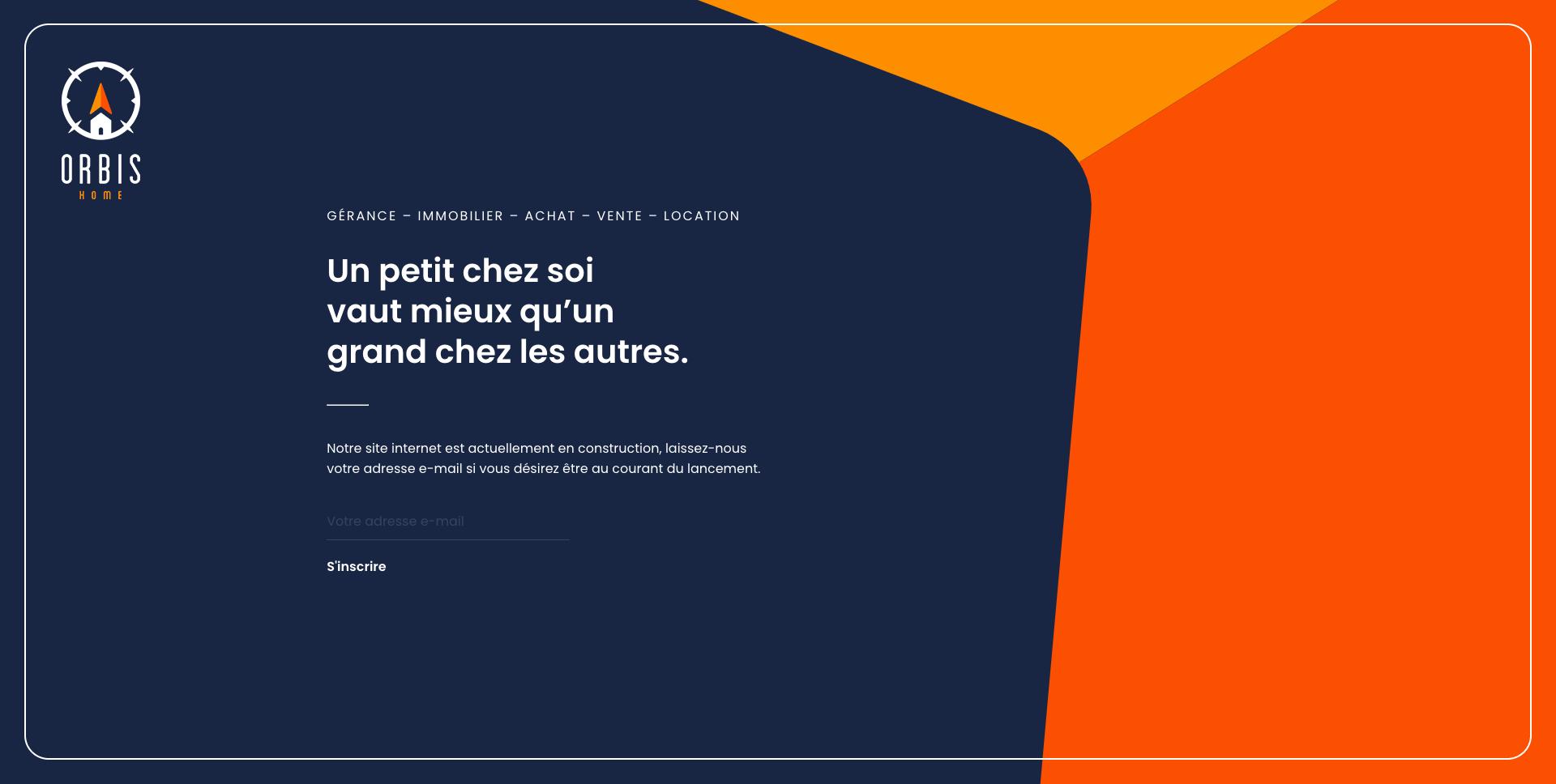 Page de construction du site internet de Orbis Home, agence immobilière en Valais