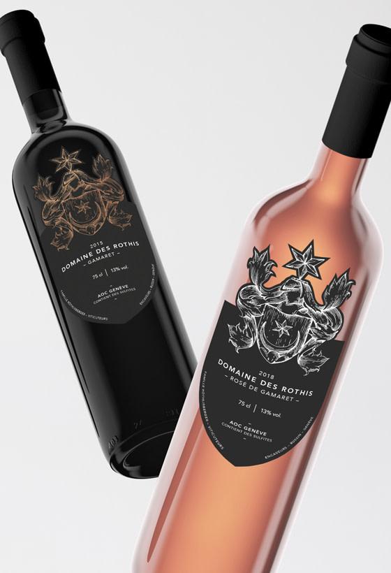 Étiquette de vin pour le Domaine des Rothis réalisé par TMKL en collaboration avec Spinnaker Communication