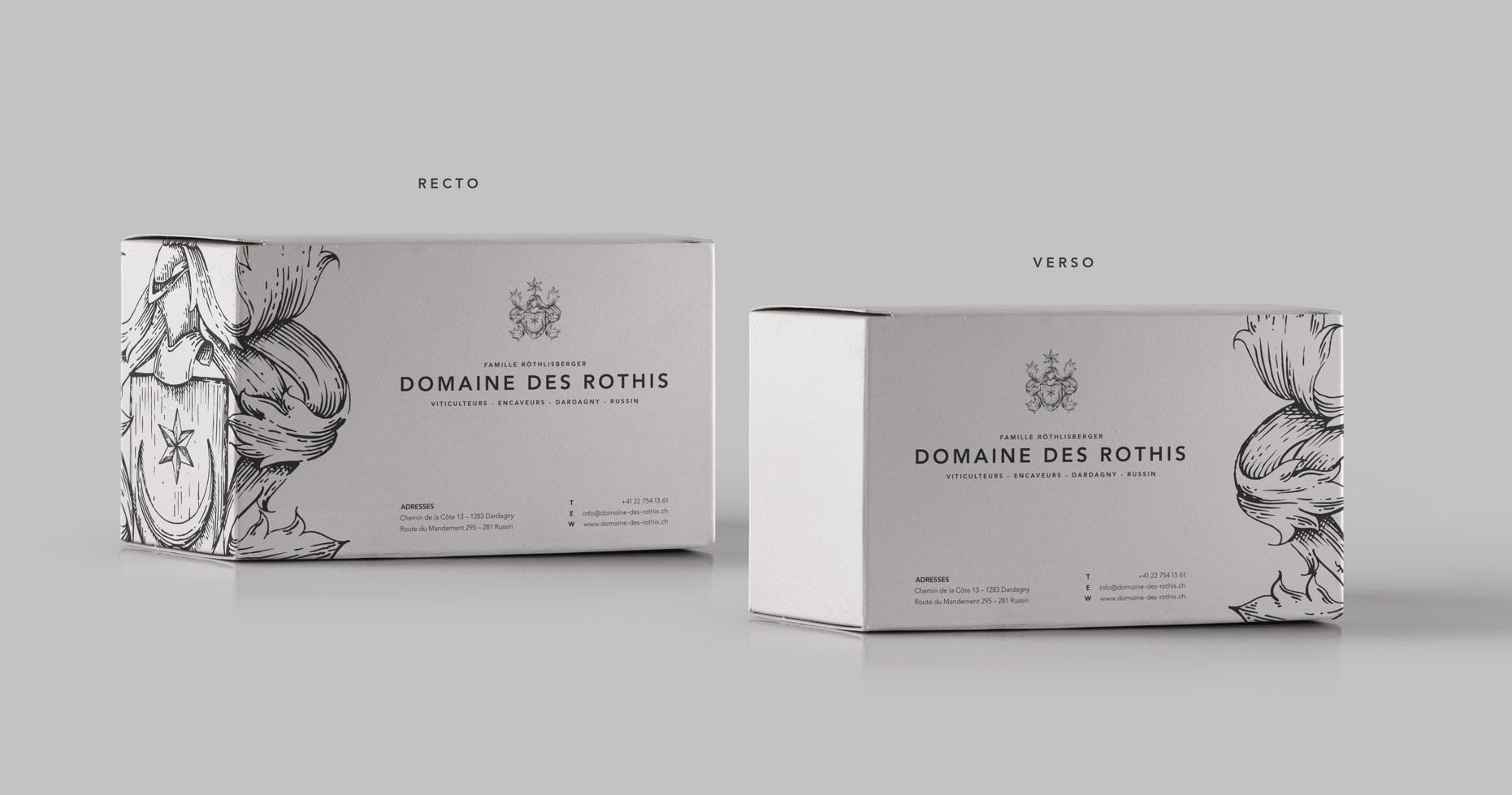 Design des cartons de transport du Domaine des Rothis réalisé par TMKL en collaboration avec Spinnaker Communication