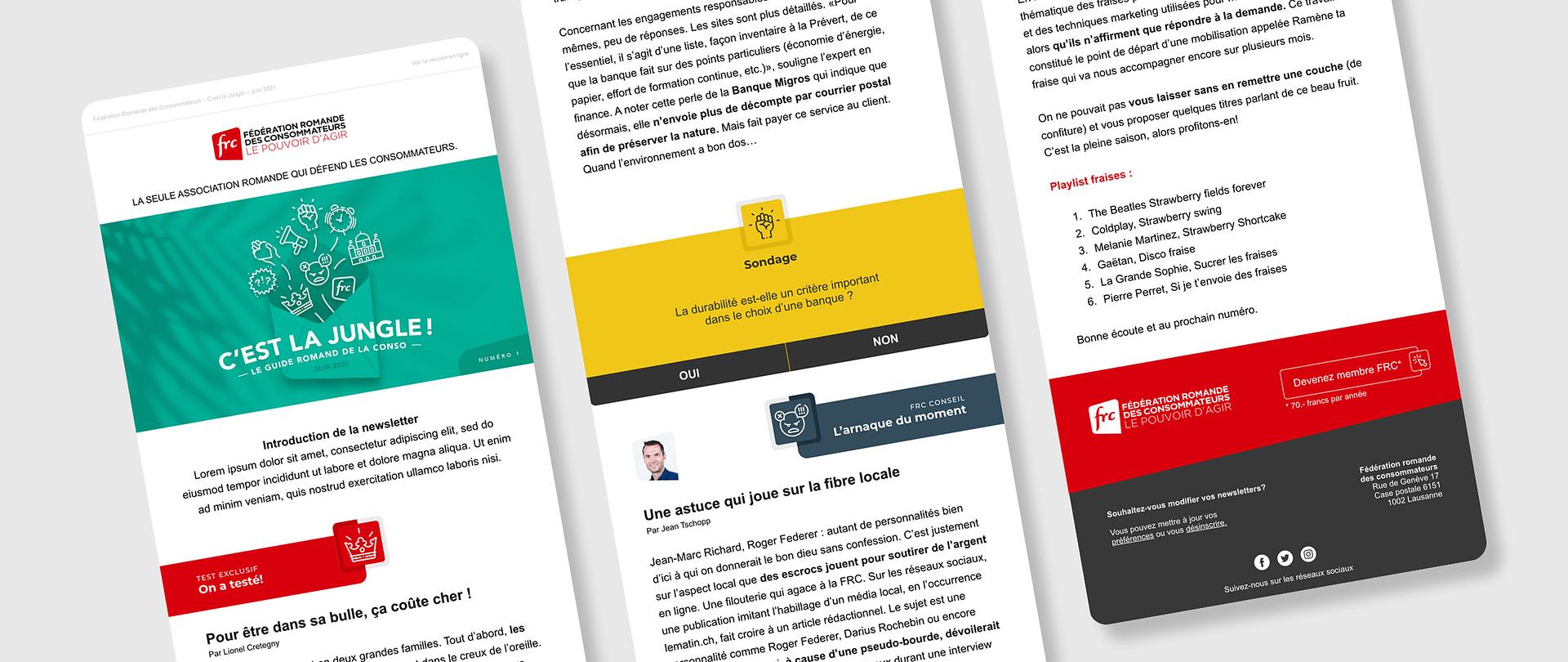 Maquettes de la newsletter de la Fédération romande des consommateurs réalisées par TMKL
