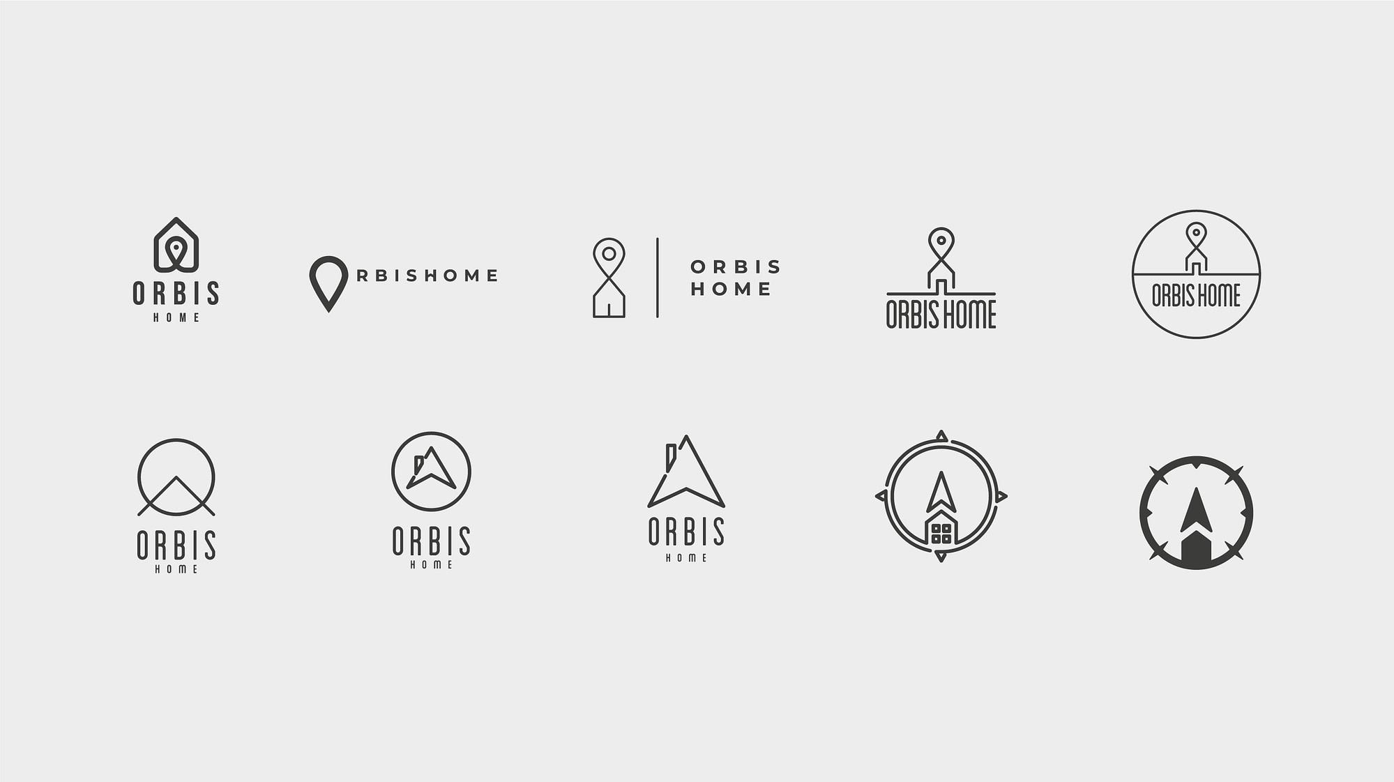 Planche de recherches d'un logotype pour Orbis Home, réalisé par TMKL agence créative à Genève, Suisse