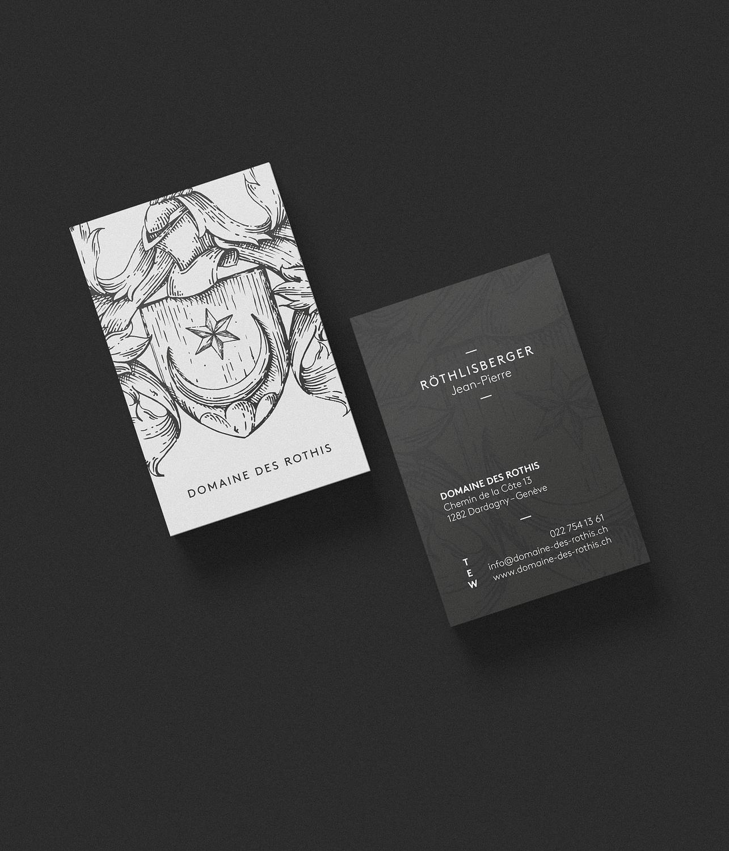 Cartes de visite pour le Domaine des Rothis réalisées par TMKL en collaboration avec Spinnaker Communication