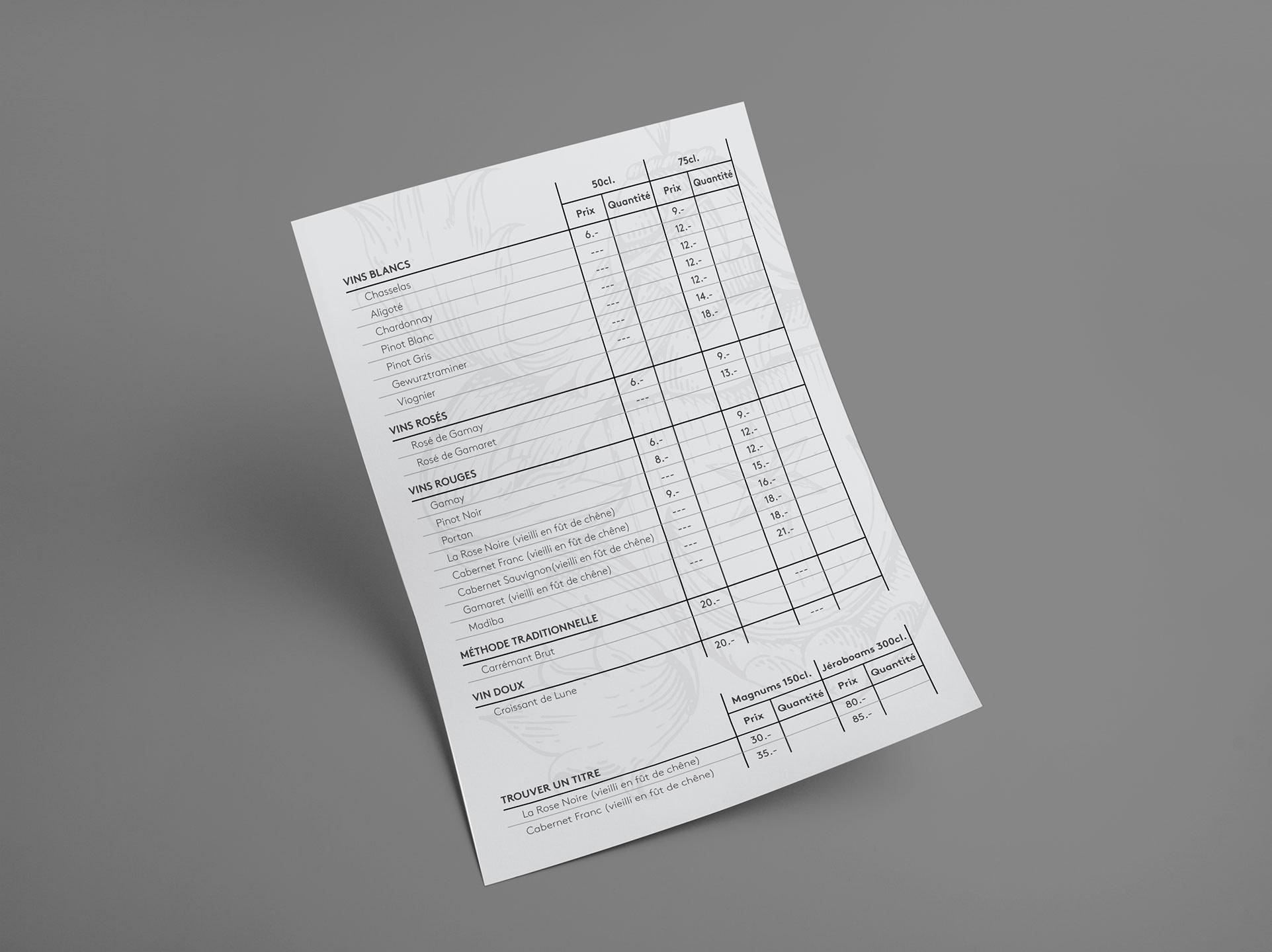 Verso des fiches de commandes réalisées par TMKL en collaboration avec Spinnaker Communication