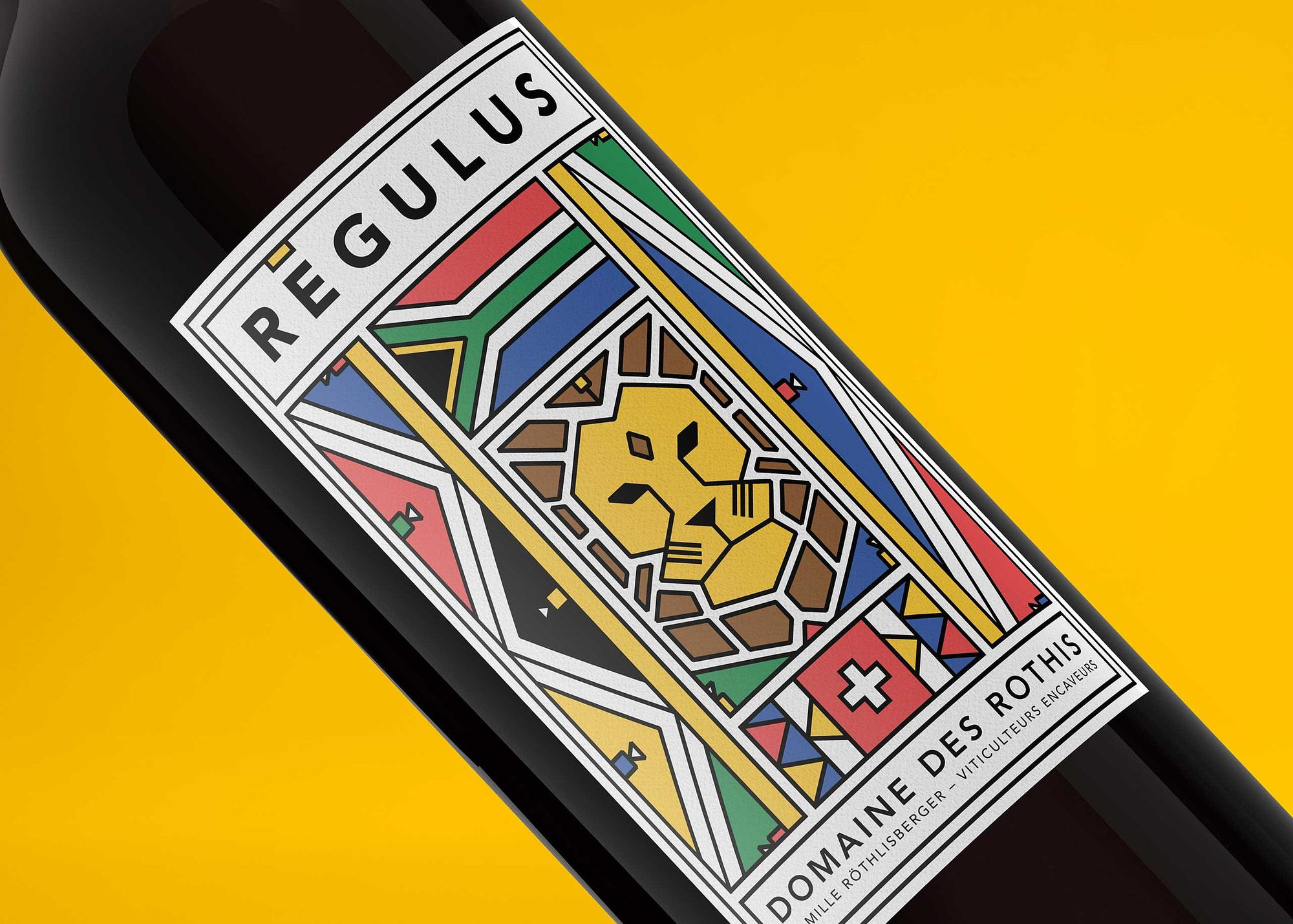 """Étiquette de vin """"Régulus"""" pour le Domaine des Rothis réalisé par TMKL en collaboration avec Spinnaker Communication"""